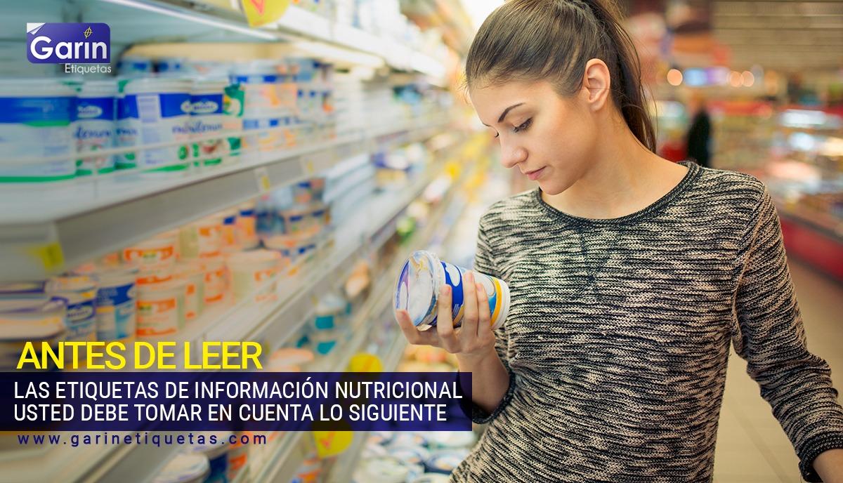 Etiquetas en los envases de alimentos